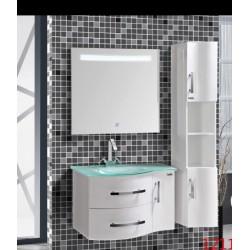 Mobiletto bagno con lavandino, specchio e armadietto laterale (Serie 1211)  - Crial S.r.l.