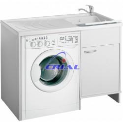 Lavatoio in vetroresina completo di mobile coprilavatrice in pvc