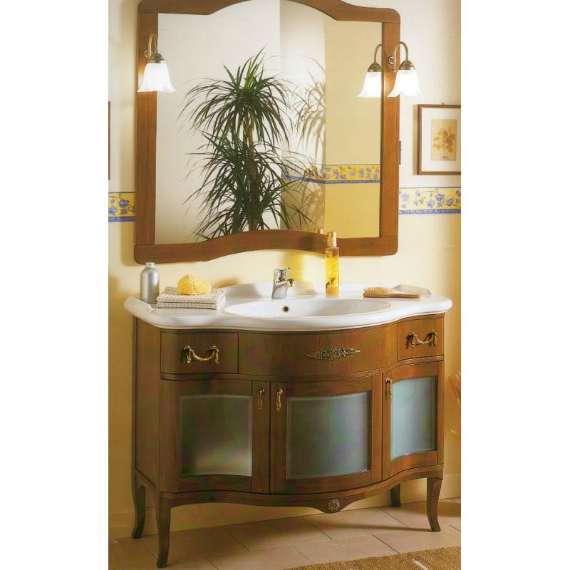 Mobile bagno color noce con specchiera serie Iris Glass - Crial S.r.l.